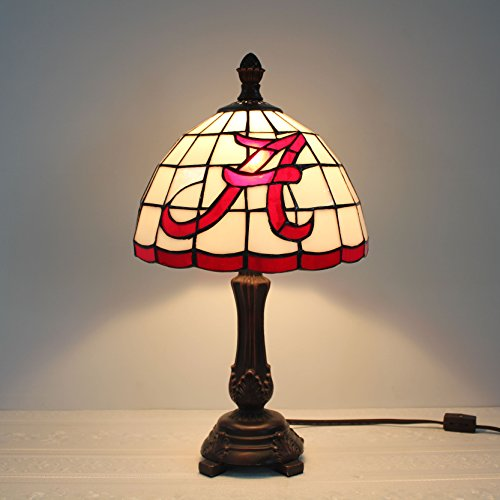 Lamp Alphabet (Royal- 9-inch NCAA Alabama Crimson Tide Alphabet A Stained Glass Table Lamp)