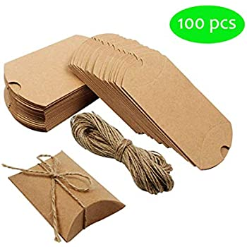 "Amazon.com: cewor 50pcs Kraft almohada caja 6"" Candy ..."