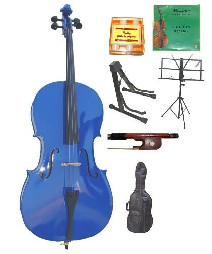 Merano 1/8 Size Blue Student Cello with Bag and Bow+2 Sets of Strings+Pitch Pipe+Cello Stand+Black Music Stand+Rosin MC100-8DBL