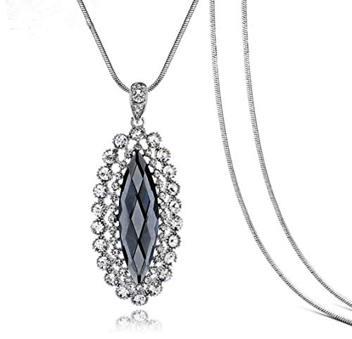 Nataliya Pendant Statement Necklace (Silver Geometric Oval Rhinestone)