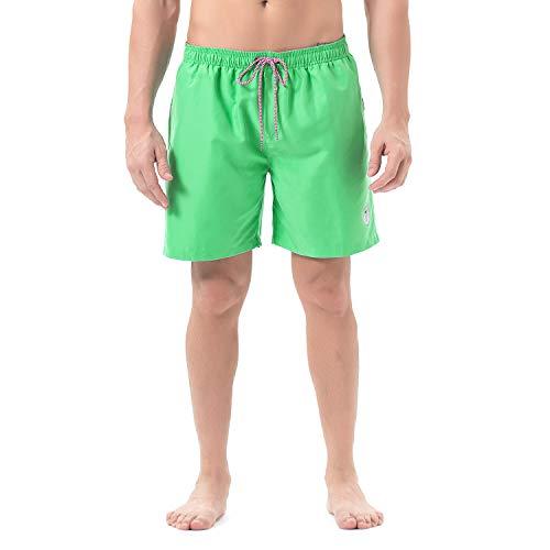 - Lapulas Mens Swim Shorts Beach Bathing Swim Trunks Quick Dry Boys Swimwear with Mesh Lining Pockets (Emerald-Green, XL)