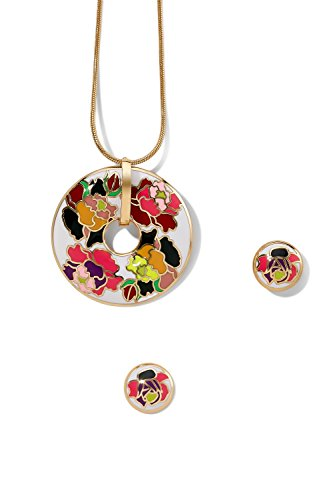 enamel-pendant-necklace-pierced-earrings-set-snake-chain-circle-floral-charm-stud-white-orange-flowe