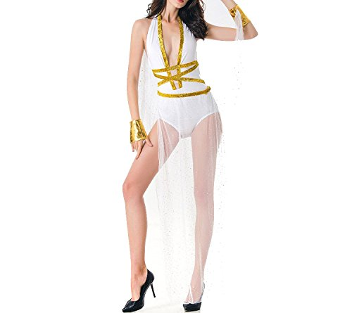 Ladies Sexy Nightdress Halloween Witch Game Clothing Long Skirt Women's Sexy Underwear,White,L -