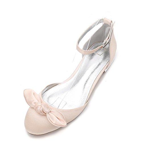 Champagne Primavera Falda Verano Las Pisos Seda De F5049 yc Noche L Mujeres 27 Boda Vestidos Lateral Zapatos Y Bowknot ZwB4aU