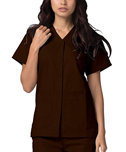 Adar Universal Double Pocket Snap Front Top (Available in 39 Colors) - 604 - Chocolate Brown - - Maternity Coats Jackets