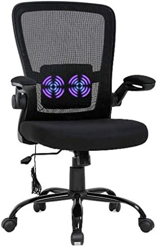 OffiClever Mesh Backrest Wheels Armrests Massage Office Chair Adjustable Executive