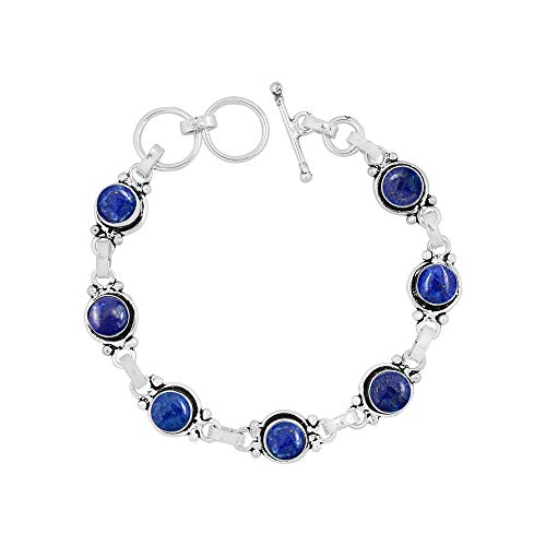 - Lapis Bracelet Sterling Silver Vintage Boho Handmade Style for Women and Girls