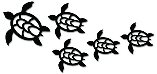 - Hawaii Sea Turtle Family Vinyl Decal Sticker For Vehicle Car Truck Window Bumper Wall Decor - [10 inch/25 cm Wide] - Gloss WHITE Color