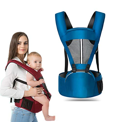 Baby Carrier with Hip Seat for Newborn Infant and Toddler, Ergonomic Baby Wrap Carrier Backpack (2-36 Months) (Blue, OneSize)