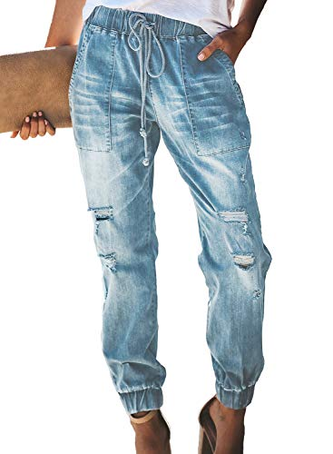 Dokotoo Womens Summer Classic Pull On Fashion 2019 Solid Distressed Drawstring Elastic Mid Waist Pocketed Joggers Wash Denim Long Jeans Pants Large