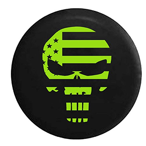 Lime - American Patriot Flag Punisher Skull Spare Tire Cover Vinyl Black 33 in