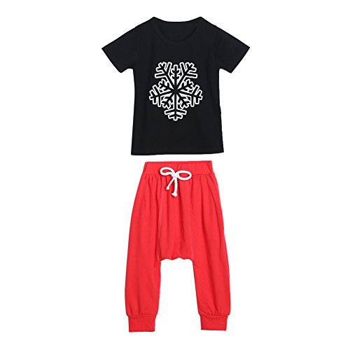 Diamondo Toddler Kids Boys Snow Flower Print Tops T-shirt Harem Pants Outfit (Age(Year): 3-4Y) (Cute Construction Worker Costumes)