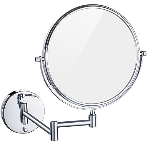 DOWRY 10x Magnification Wall Mount Makeup Mirror, 8 Inch Double-Sided Swivel, 12 Inch Extension, Polished Chrome Finished M1309-10 Chrome Wall Mount Mirror