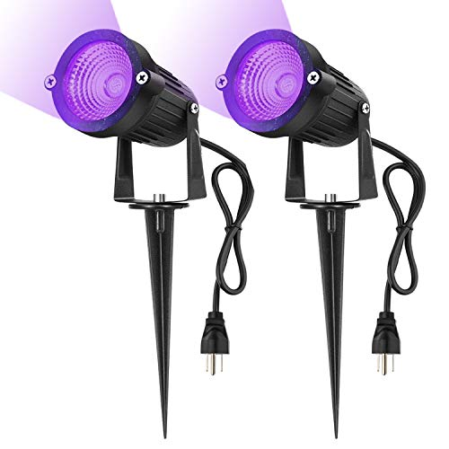 Hypergiant 12W Waterproof Plug in UV LED Spotlight ,Outdoor Black Lights,120V AC,3.3ft wire,Stake landscape Light for Outdoor Decoration Yard Lawn Patio Garden Path Tree(2-PACK) -