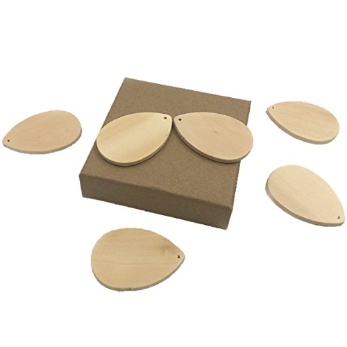 Wendysun 20Pcs Wooden Earring Accessories Wood Decorate Large Teardrop Blank Natural Unfinished Wood Beads 58mm40mm Wood Jewelry Beads Supplies
