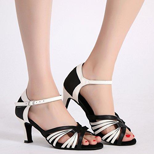 Tda Femmes Mode Sexy Unique Sangle Noeud Synthétique De Danse Latine Chaussures De Danse Sandales De Mariage Du Soir Noir Blanc-6.5cm Talon