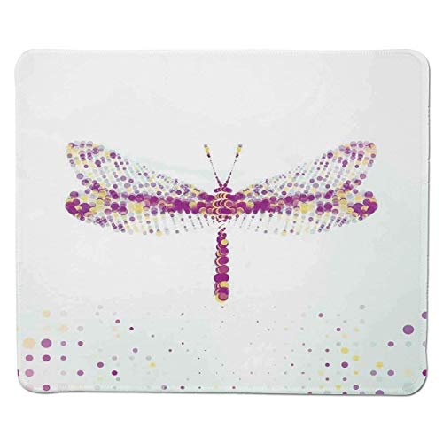 Yanteng Gaming Mouse Pad Dragonfly,Futuristic Featured Dragonfly with Spot Effects Properties Winged Flying Theme,Purple Yellow Stitched Edge