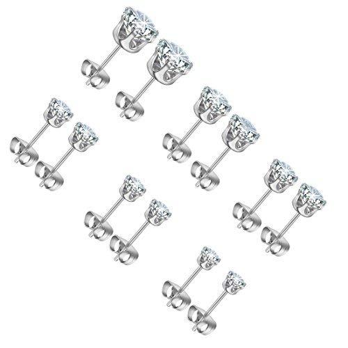 Stud Earrings Ms. Girl Stainless Steel Cubic Zirconia Earrings,Earrings Set for Women 3~8mm 6 Pairs