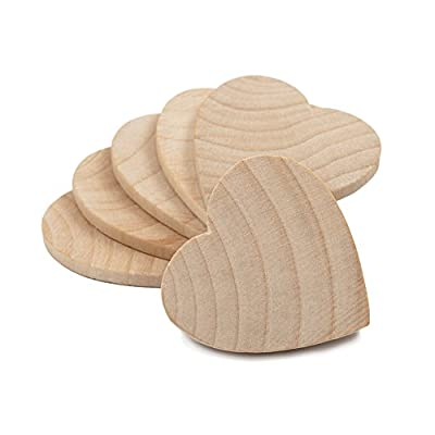 "1-1/2"" Wood Hearts, Natural Unfinished Wood Heart Cutout Shape, (1.5 Inch), Wooden Heart (1-1/2 Inch Tall x 1/8 Inch Thick)"
