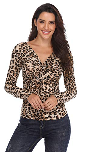MISS MOLY Women's Leopard Print V Neck Off Shoulder Tops Long Sleeve Ruched Workout Summer Top Shirt XL