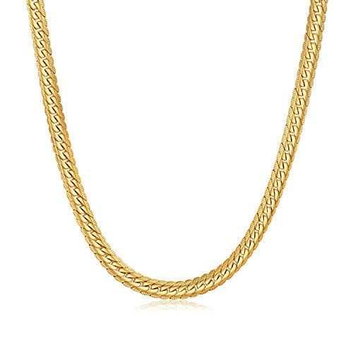 WINNICACA 24K Gold Plated Italy Cuban Hip Hop Chain Link Necklace Fake Gold Chains for Men Snake Chain Fashion Jewelry 18inches,6mm Wide ()