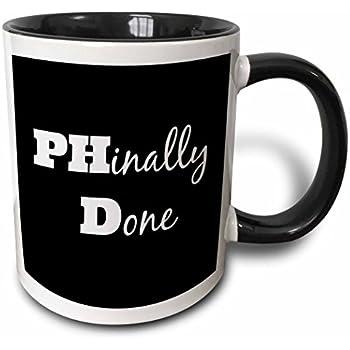 3dRose PHD, Phinally done - Two Tone Black Mug, 11oz (mug_216379_4), 11 oz, Black/White