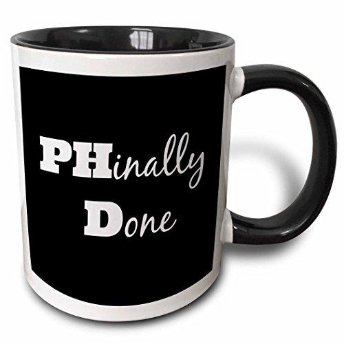 3dRose 216379_4 Phd, Phinally Done Mug, 11 oz, Black