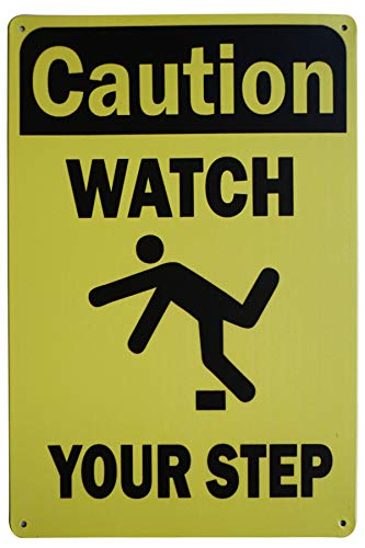 LASMINE Caution Safety Sign Watch Your Step Outdoor Metal Steps Tape Sticker Watches That Track Please Signs Floor Up Decal Road Country 8X12Inch from LASMINE