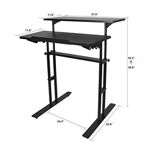 Heyesk Stand Up Desk Height Adjustable Home Office Desk with Standing (Black) by heyesk (Image #6)