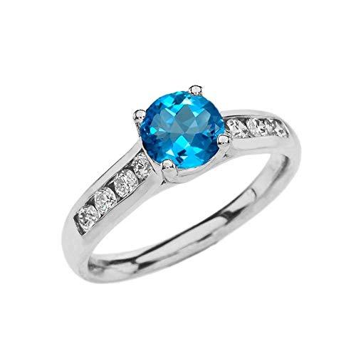 (Elegant 10k White Gold CZ Channel-Set Personalized Solitaire Genuine Blue Topaz Engagement Proposal Ring (Size 7.25) )