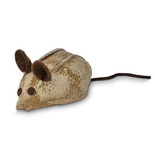 Leaps & Bounds Faux Leather Mouse Cat Toy with Rattle & Catnip, 3