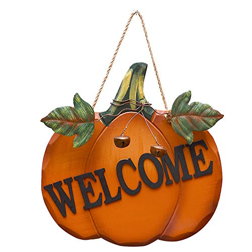 Halloween Sign Post (YK Decor Decorative Welcome Pumpkin Sign Wood Wall Décor Autumn Fall Harvest Halloween Thanksgiving Country Decoration with Jute Hanging)
