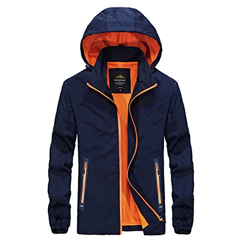Price comparison product image Modern Fantasy Mens Packable Hooded Zip up Pocket Activewear Jacket Size US Blue L