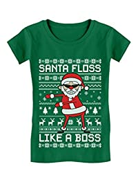 Santa Floss Like a Boss Funny Ugly Christmas Sweater Girls' Fitted Kids T-Shirt