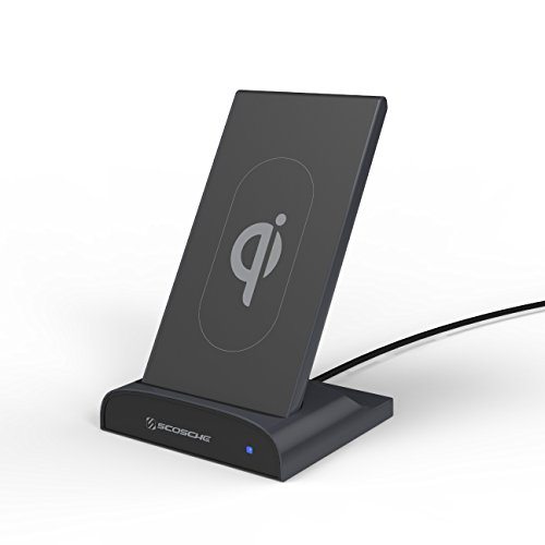 Usb Scosche (SCOSCHE PBQ5DKSG-SP QiDock 2-in-1 10W Qi-Certified Wireless Charging Dock and Qi Wireless Powerbank Portable Battery Pack with USB Charging Port for Qi-Enabled Smartphones and USB Devices - Black)