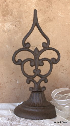 Fleur Finial (Cast Iron Fleur De Lis Style Finial Tabletop Decor Doorstop Paperweight)