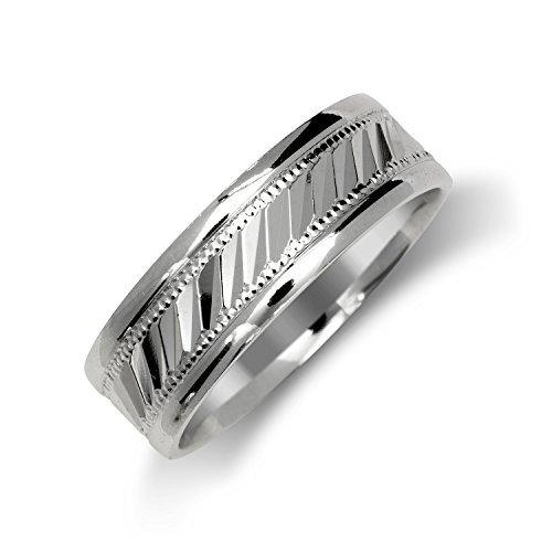 Allmygold Jewelers Fancy Designer 7mm .925 Sterling Silver Wedding Band Ring Men's & Women's (Sterling-Silver, 11)