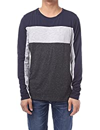 Mens Contrast Color Crew Neck Long Sleeve Casual T-shirt Top