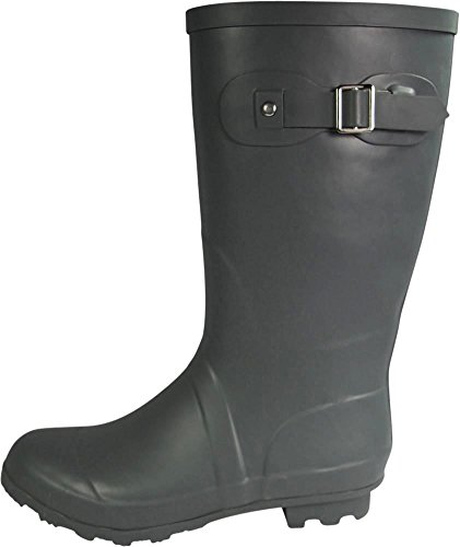 NORTY Womens Hurricane Wellie - 14 Solids and Prints - Glossy & Matte Waterproof Mid-Calf Rainboots Matte Charcoal kYuPJ