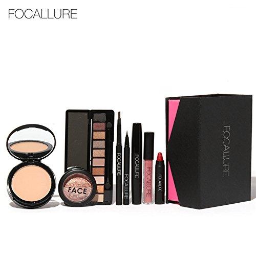 8Pcs/Set Lipstick Matte Liquid Lip Gloss With Face Powder Glitter Eyeshadow Palette Blush Eyebrow Pencil Eyeliner Mascara Makeup 2