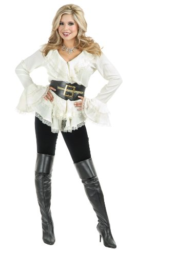 [Charades Women's South Seas Long Sleeve Blouse, Off/White, Large] (Steampunk Pirate)