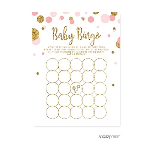 Andaz Press Blush Pink Gold Glitter Girl Baby Shower Party Collection, Games, Activities, Decorations, Baby Bingo Game Cards, (Personalized Bingo Games)