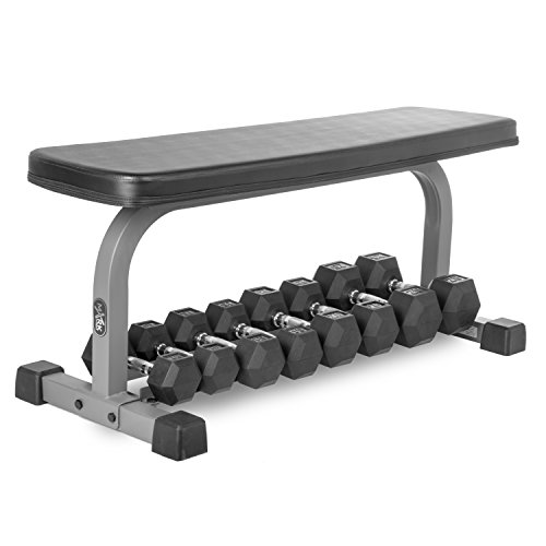 XMark Wide Base Flat Utility Bench With Dumbbell Storage Purchase Individually or With A Dumbbell Set