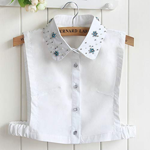 (Women Lapel Peter Pan Sweater Shirt Tie Collar Rhinestone Crystal Bead Faux Detachable False Denim Jeans Cotton Fake Collar Picture4)