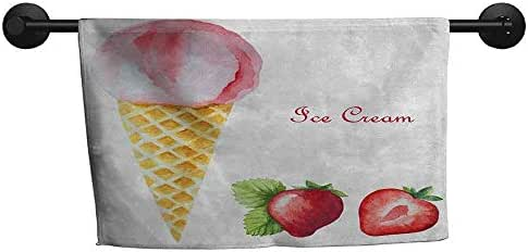 xixiBO Adult Towel W 28 x L 14(inch) Shower Towel Facial Hand,Ice Cream,Watercolor Strawberry Flavor Summer Kids Girls Yummy Artwork Print,Sand Brown Pale Pink