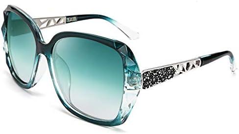 FEISEDY Polarized Women Square Sunglasses Sparkling Composite Shiny Frame B2289