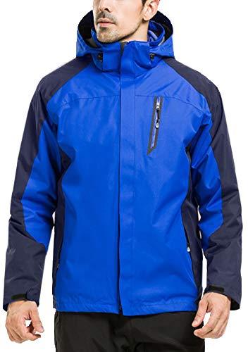 GEMYSE Men's Waterproof Ski Jacket Double Layer Fleece Jacket(Sapphire Blue,XS)