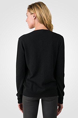 Jennie Liu Chaqueta de mujer 100% cachemir botón frontal manga larga cuello redondo Cardigan jersey negro