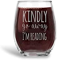 Kindly Go Away I'm Reading Stemless Wine Glass Introvert Book Lover Gift for Women - 2