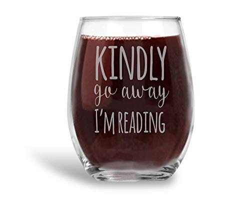 (Kindly Go Away I'm Reading Stemless Wine Glass Introvert Book Lover Gift for Women - 21 oz)